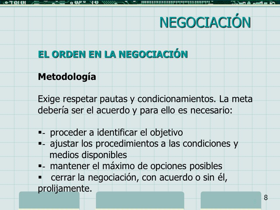NEGOCIACIÓN EL ORDEN EN LA NEGOCIACIÓN Metodología