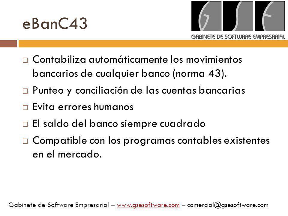 eBanC43 Contabiliza automáticamente los movimientos bancarios de cualquier banco (norma 43). Punteo y conciliación de las cuentas bancarias.