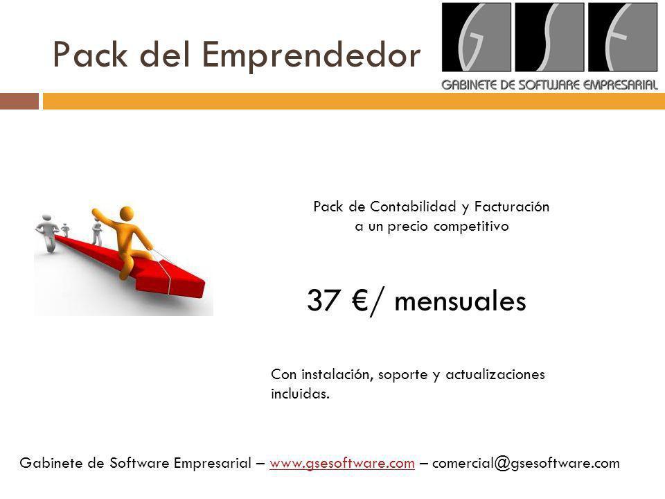 Pack del Emprendedor 37 €/ mensuales