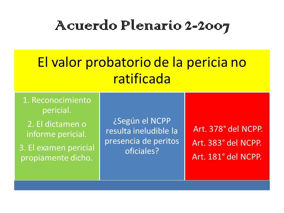 Acuerdo Plenario 2-2007 El valor probatorio de la pericia no ratificada. 1. Reconocimiento pericial.