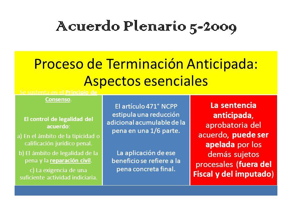 Acuerdo Plenario 5-2009 Proceso de Terminación Anticipada: Aspectos esenciales. Se sustenta en el Principio de Consenso.