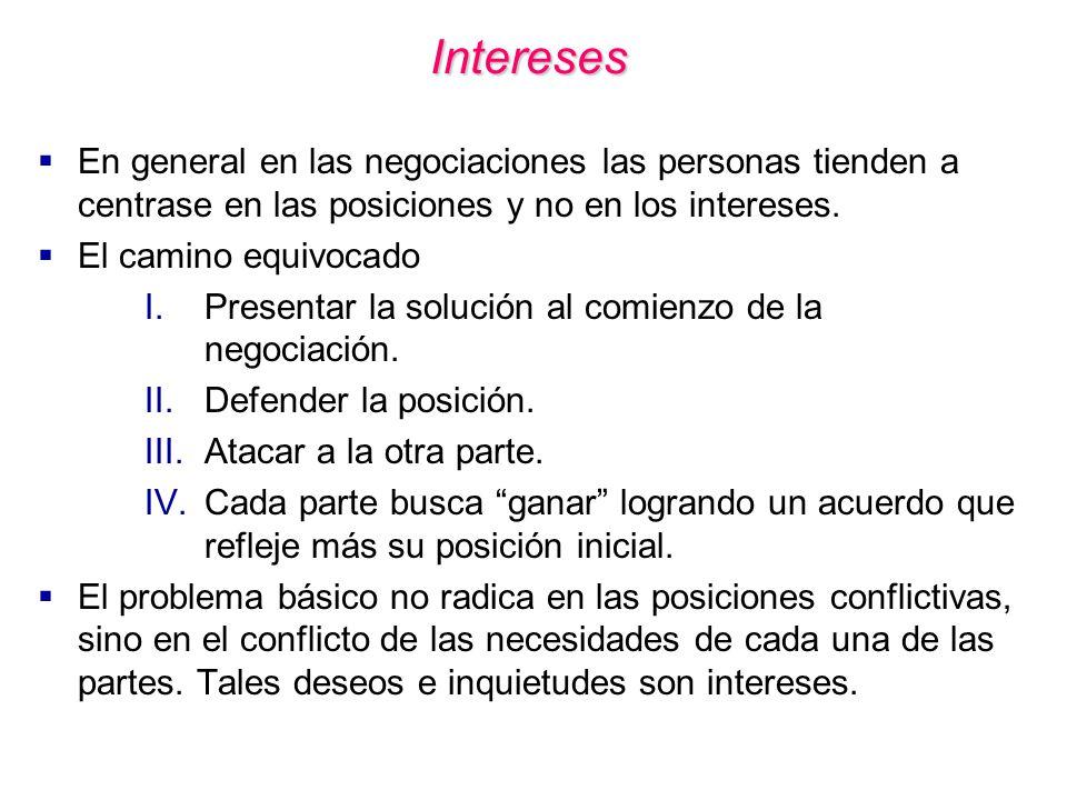 Intereses En general en las negociaciones las personas tienden a centrase en las posiciones y no en los intereses.