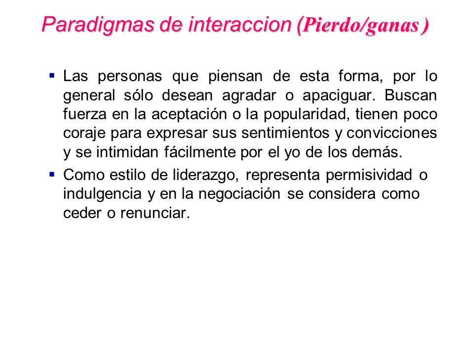 Paradigmas de interaccion (Pierdo/ganas )
