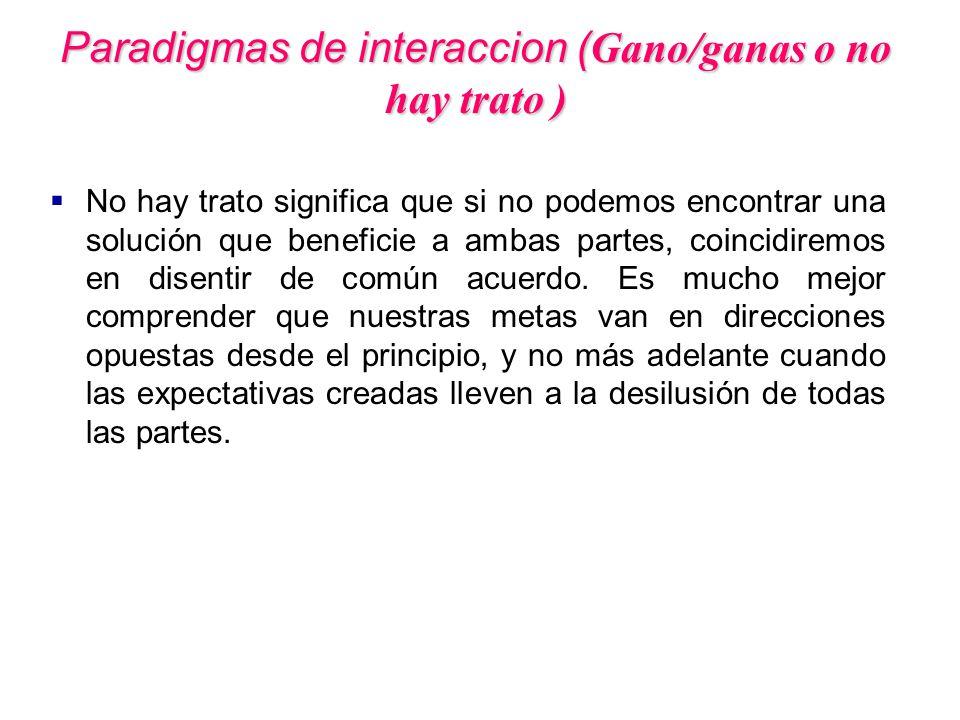 Paradigmas de interaccion (Gano/ganas o no hay trato )