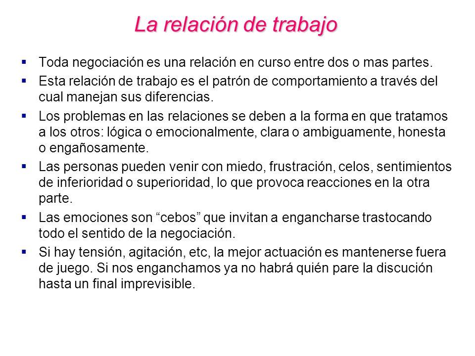 La relación de trabajo Toda negociación es una relación en curso entre dos o mas partes.