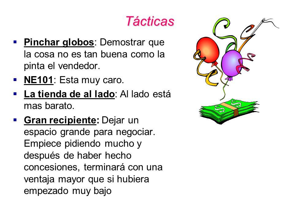 Tácticas Pinchar globos: Demostrar que la cosa no es tan buena como la pinta el vendedor. NE101: Esta muy caro.