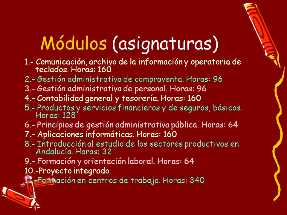 Módulos (asignaturas)