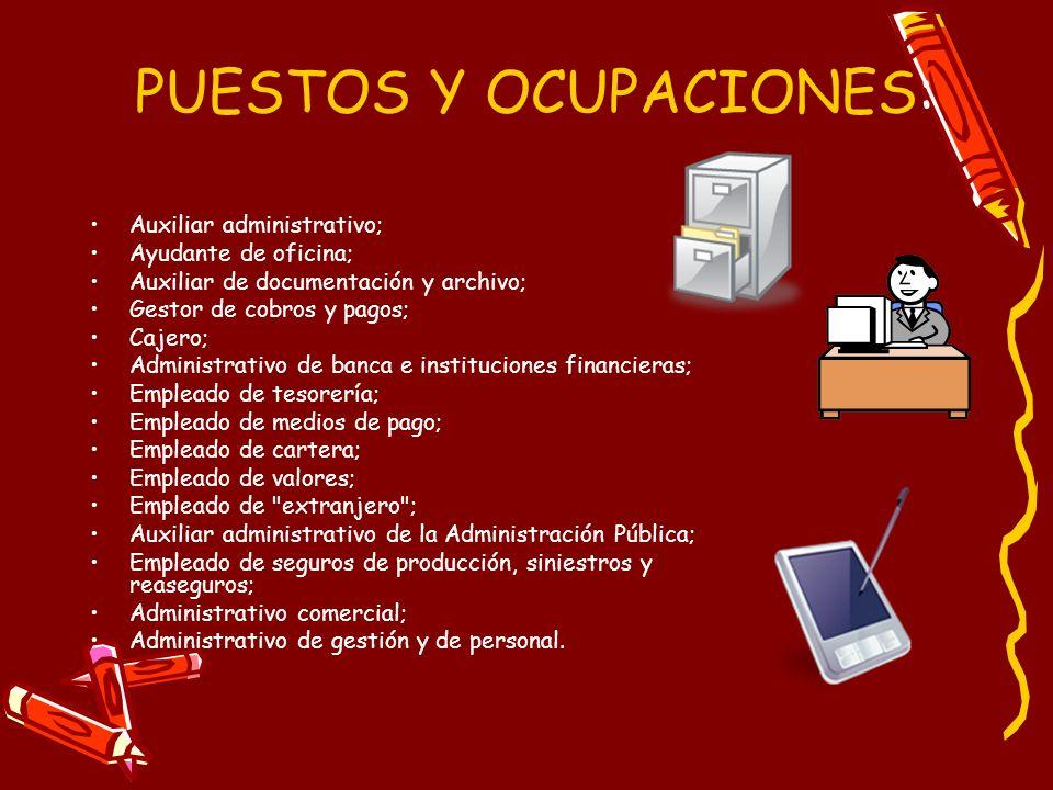 PUESTOS Y OCUPACIONES:
