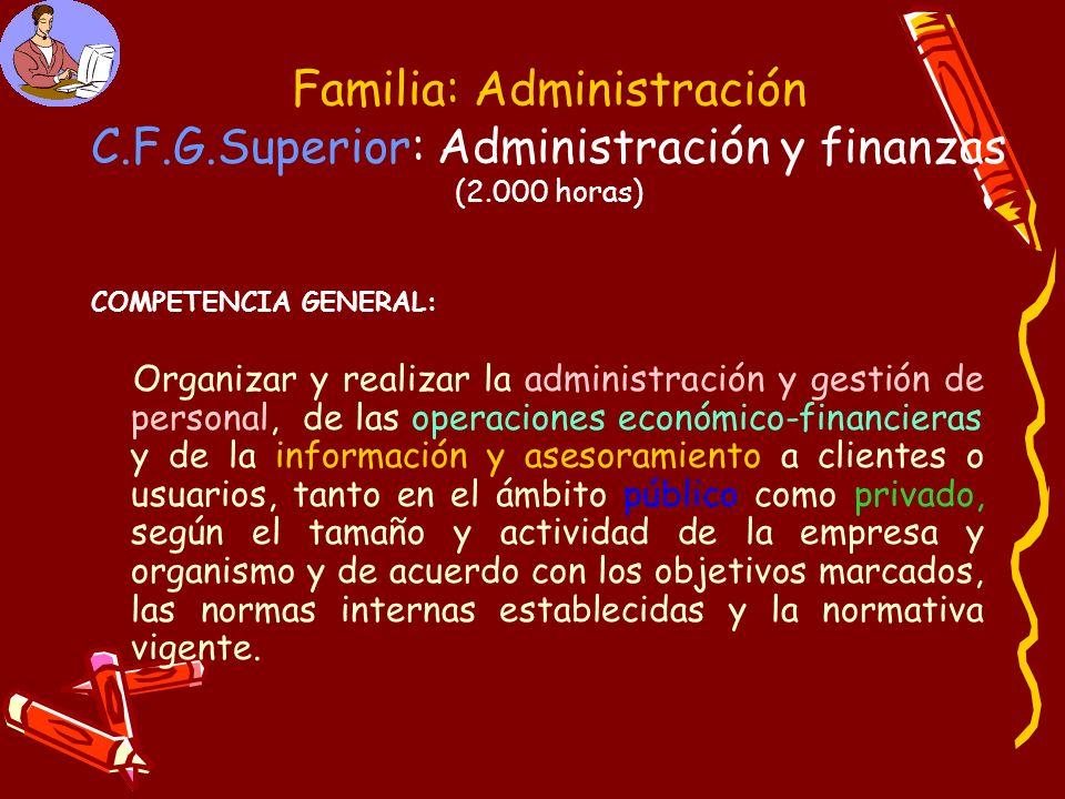 Familia: Administración C.F.G.Superior: Administración y finanzas (2.000 horas)