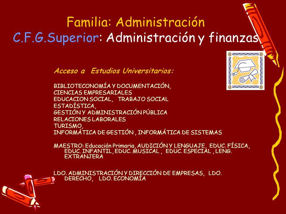 Familia: Administración C.F.G.Superior: Administración y finanzas