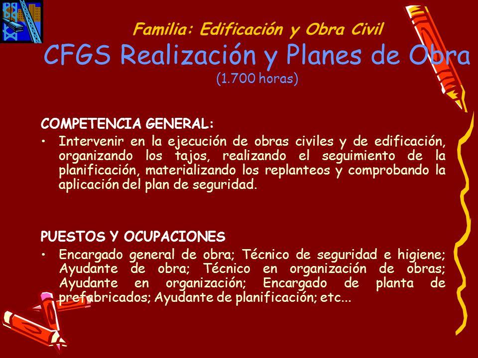 Familia: Edificación y Obra Civil CFGS Realización y Planes de Obra (1