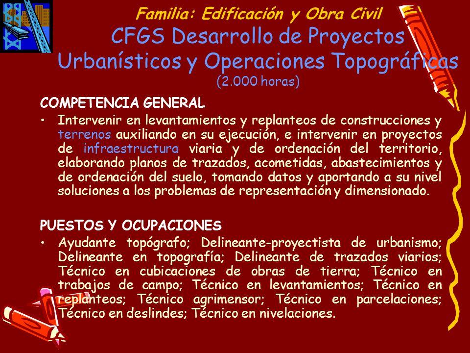 Familia: Edificación y Obra Civil CFGS Desarrollo de Proyectos Urbanísticos y Operaciones Topográficas (2.000 horas)