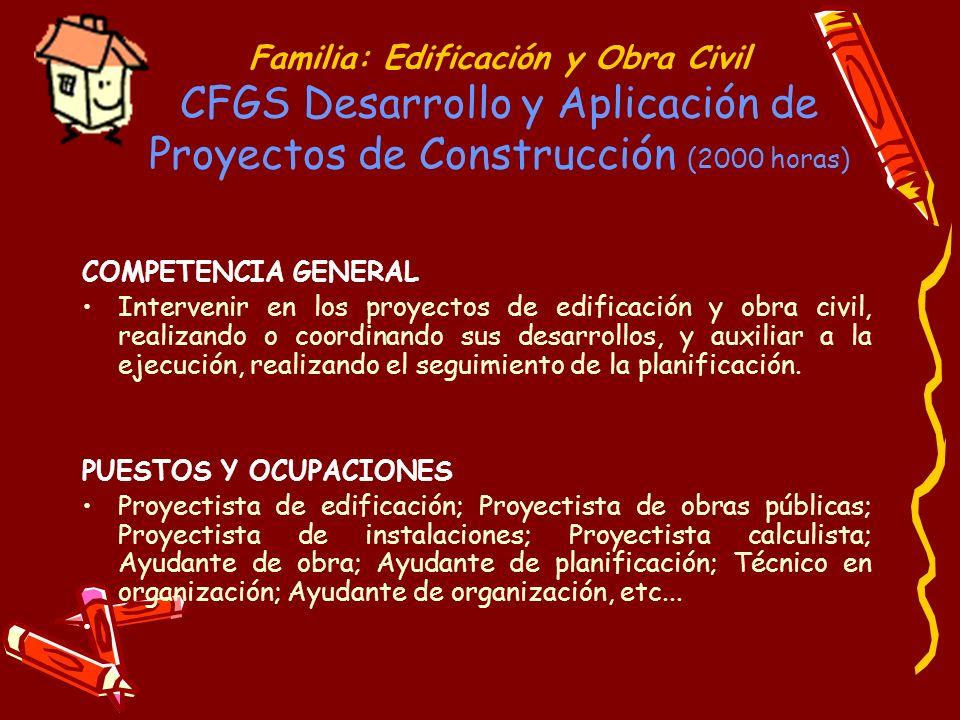 Familia: Edificación y Obra Civil CFGS Desarrollo y Aplicación de Proyectos de Construcción (2000 horas)