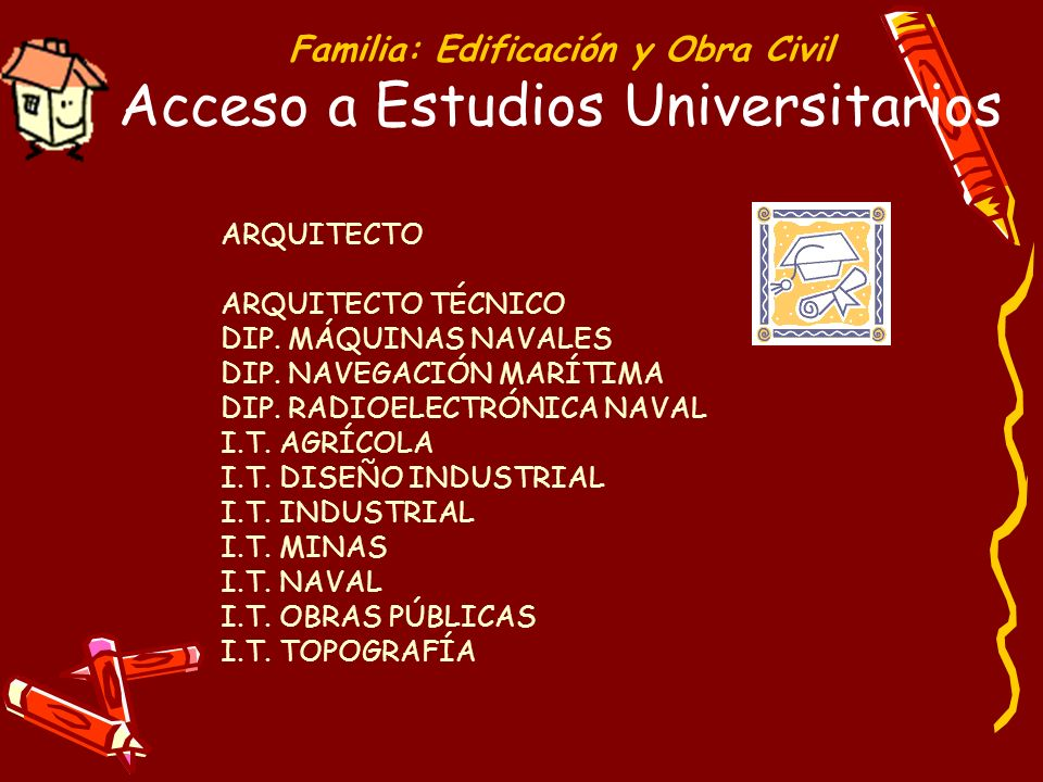 Familia: Edificación y Obra Civil Acceso a Estudios Universitarios