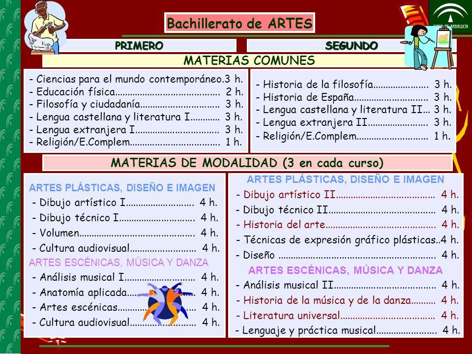 Bachillerato de ARTES MATERIAS COMUNES