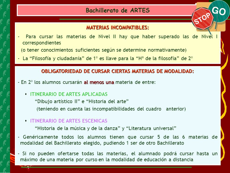 Bachillerato de ARTES MATERIAS INCOMPATIBLES: