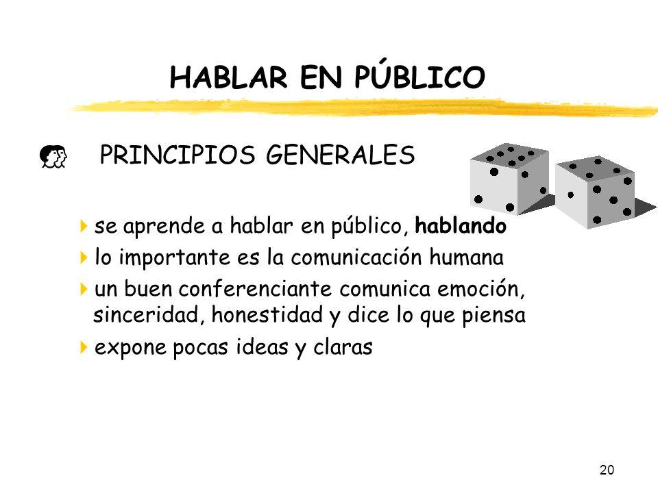 HABLAR EN PÚBLICO PRINCIPIOS GENERALES