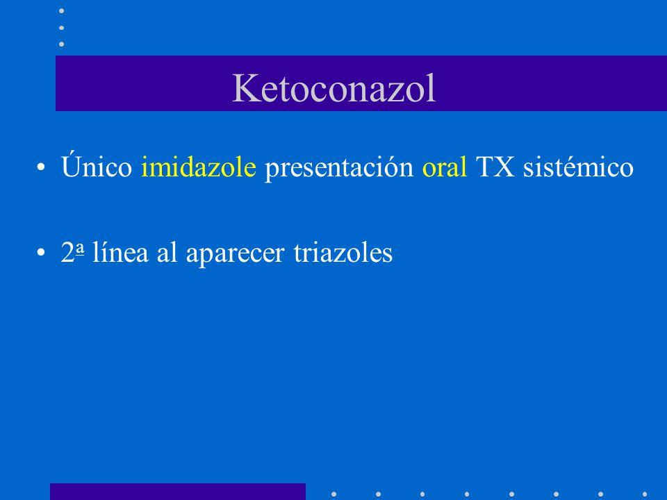 Ketoconazol Único imidazole presentación oral TX sistémico
