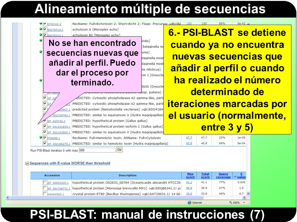 PSI-BLAST: manual de instrucciones (7)