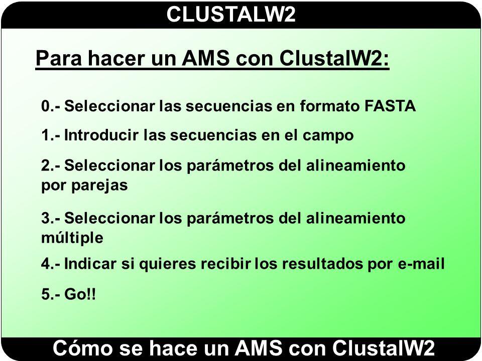 Para hacer un AMS con ClustalW2: