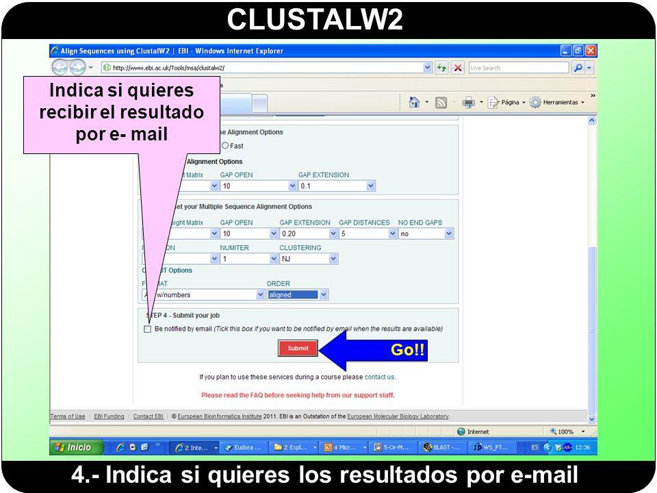 Indica si quieres recibir el resultado por e- mail