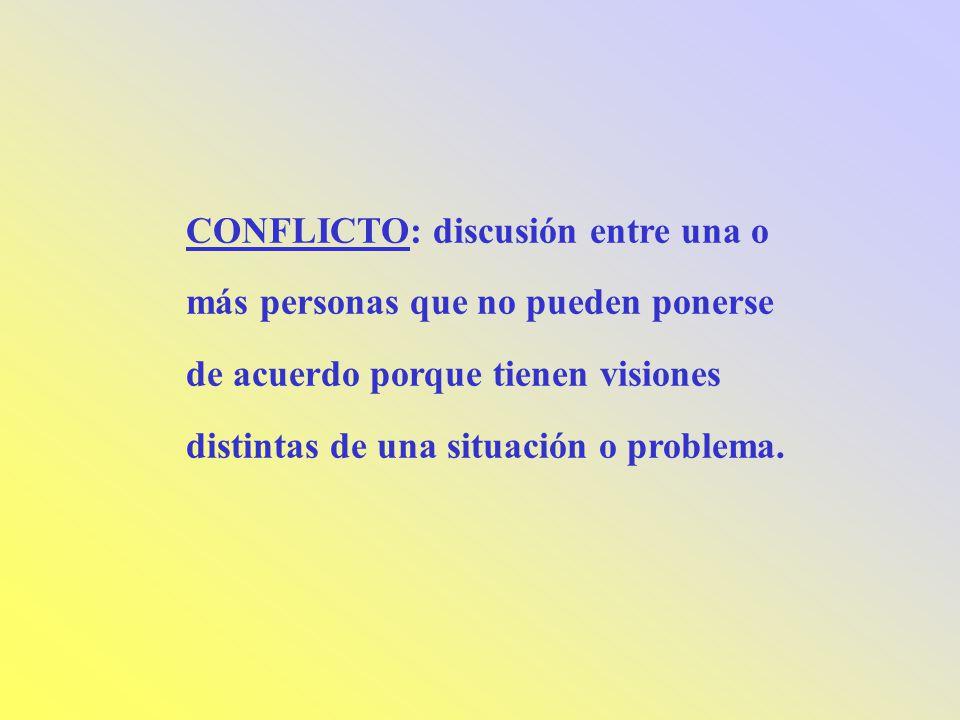 CONFLICTO: discusión entre una o más personas que no pueden ponerse de acuerdo porque tienen visiones distintas de una situación o problema.