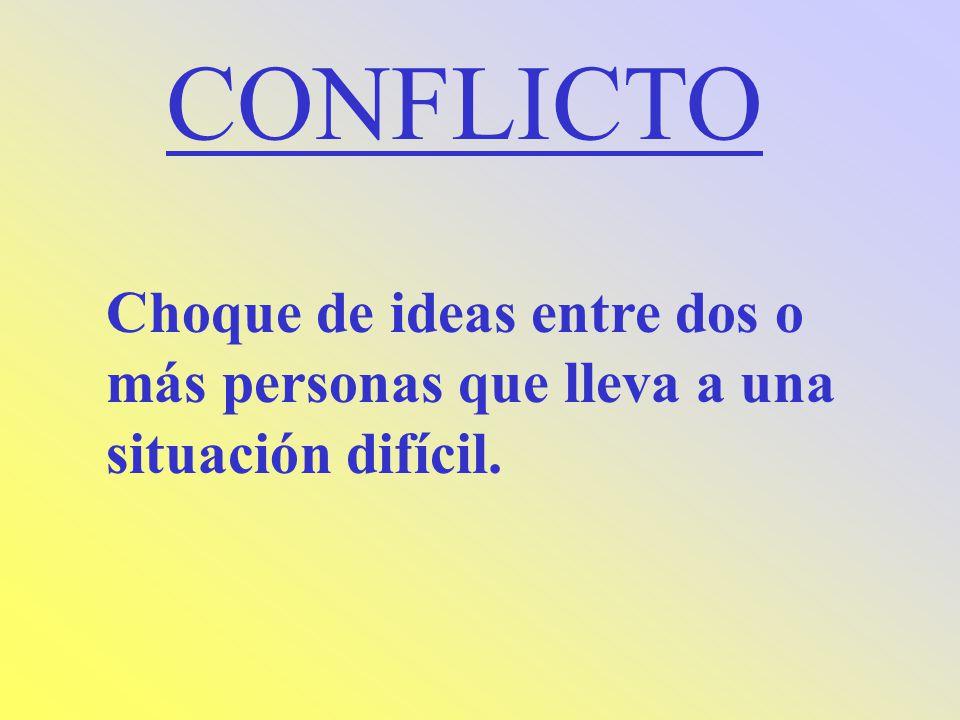 CONFLICTO Choque de ideas entre dos o más personas que lleva a una situación difícil.