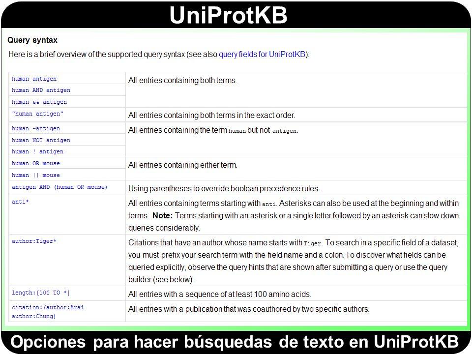 Opciones para hacer búsquedas de texto en UniProtKB