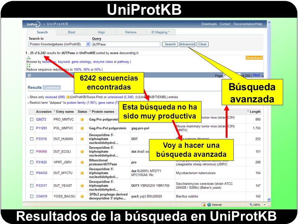 Resultados de la búsqueda en UniProtKB