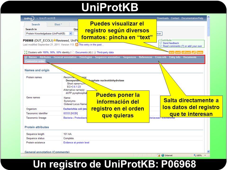 Un registro de UniProtKB: P06968