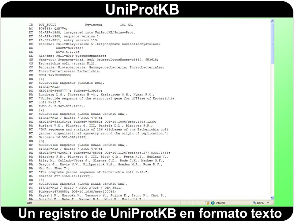 Un registro de UniProtKB en formato texto