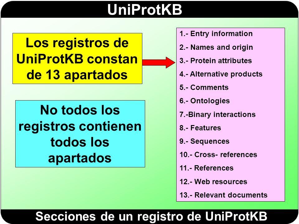 Los registros de UniProtKB constan de 13 apartados