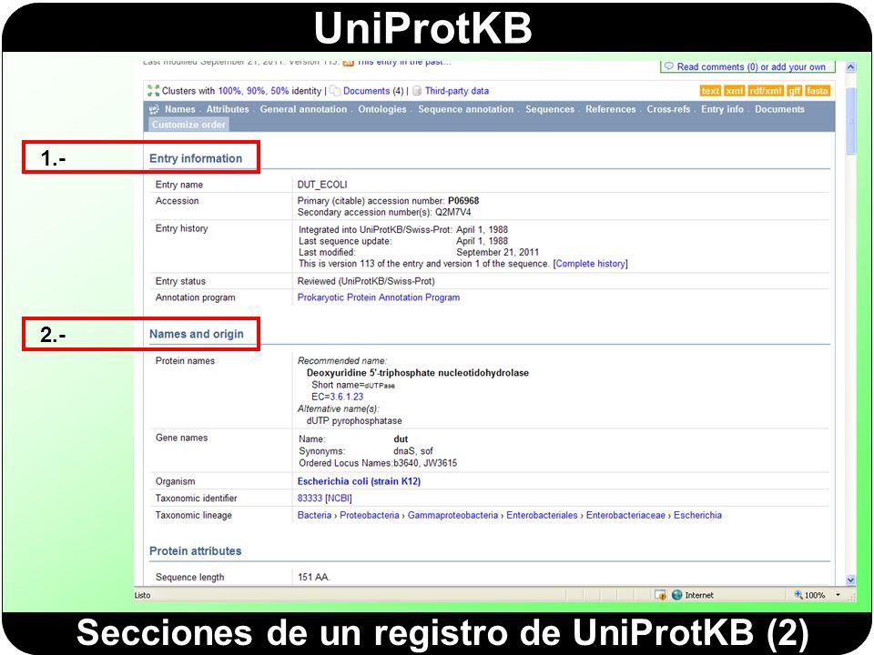 Secciones de un registro de UniProtKB (2)