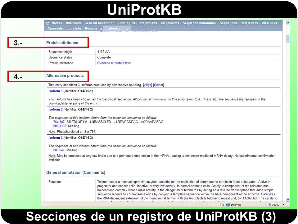 Secciones de un registro de UniProtKB (3)