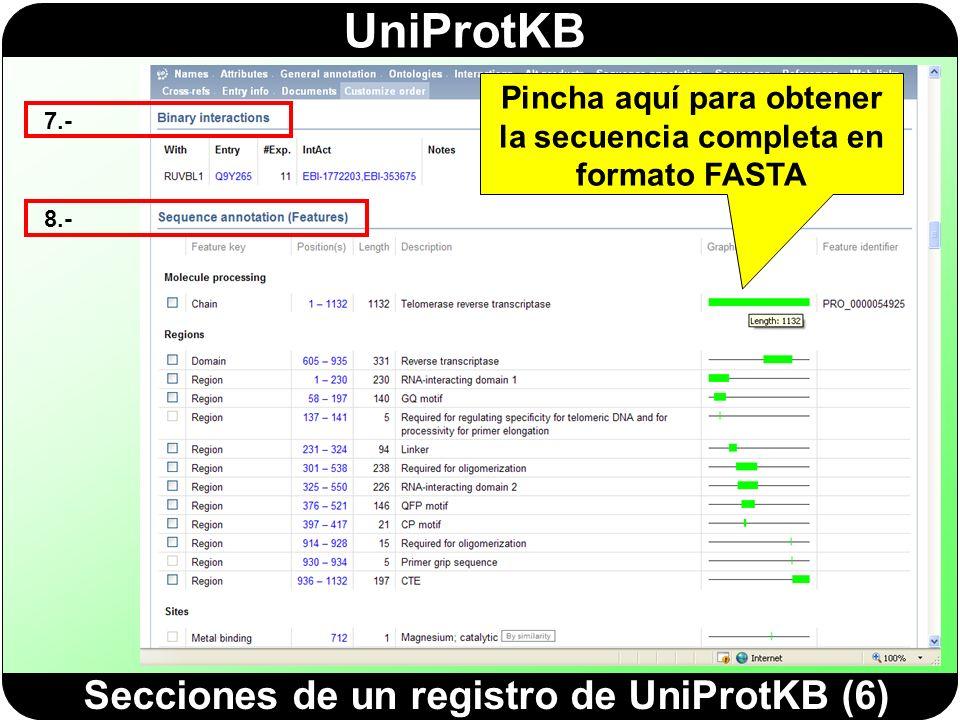 Secciones de un registro de UniProtKB (6)