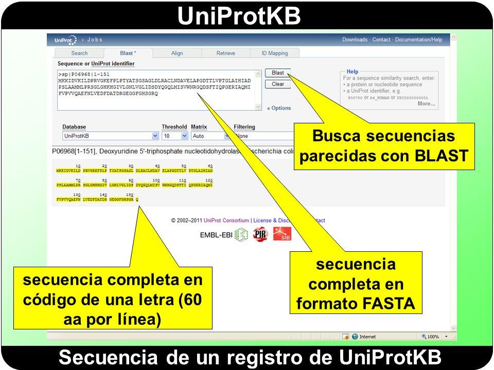 Secuencia de un registro de UniProtKB