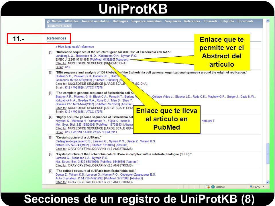 Secciones de un registro de UniProtKB (8)