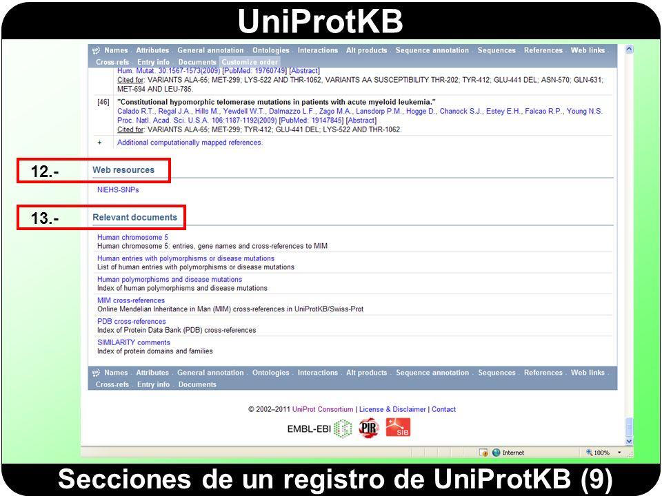 Secciones de un registro de UniProtKB (9)