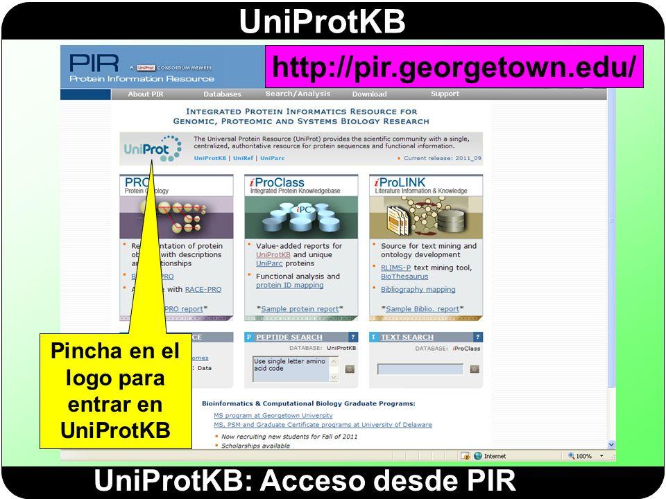 Pincha en el logo para entrar en UniProtKB