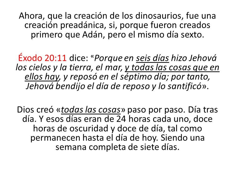 Ahora, que la creación de los dinosaurios, fue una creación preadánica, si, porque fueron creados primero que Adán, pero el mismo día sexto.