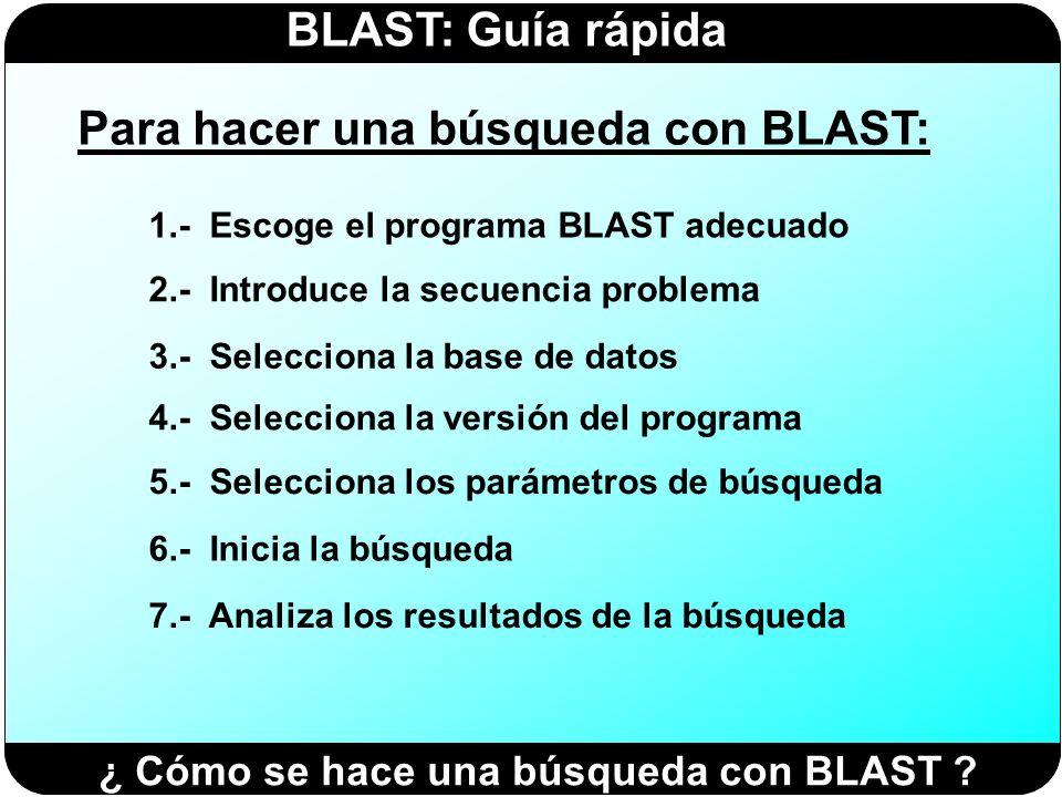 Para hacer una búsqueda con BLAST: