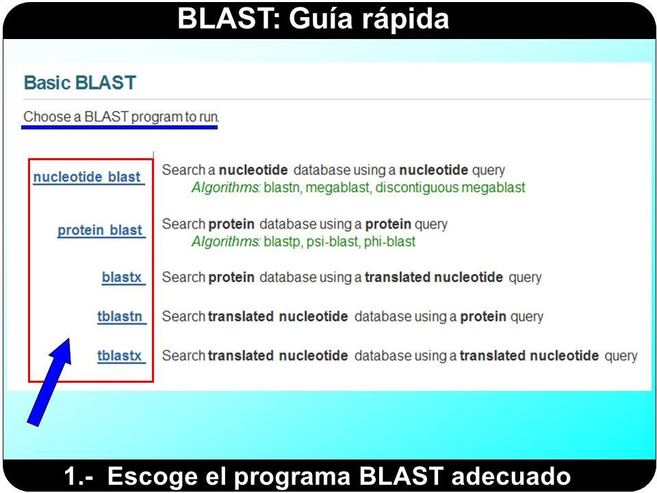 1.- Escoge el programa BLAST adecuado