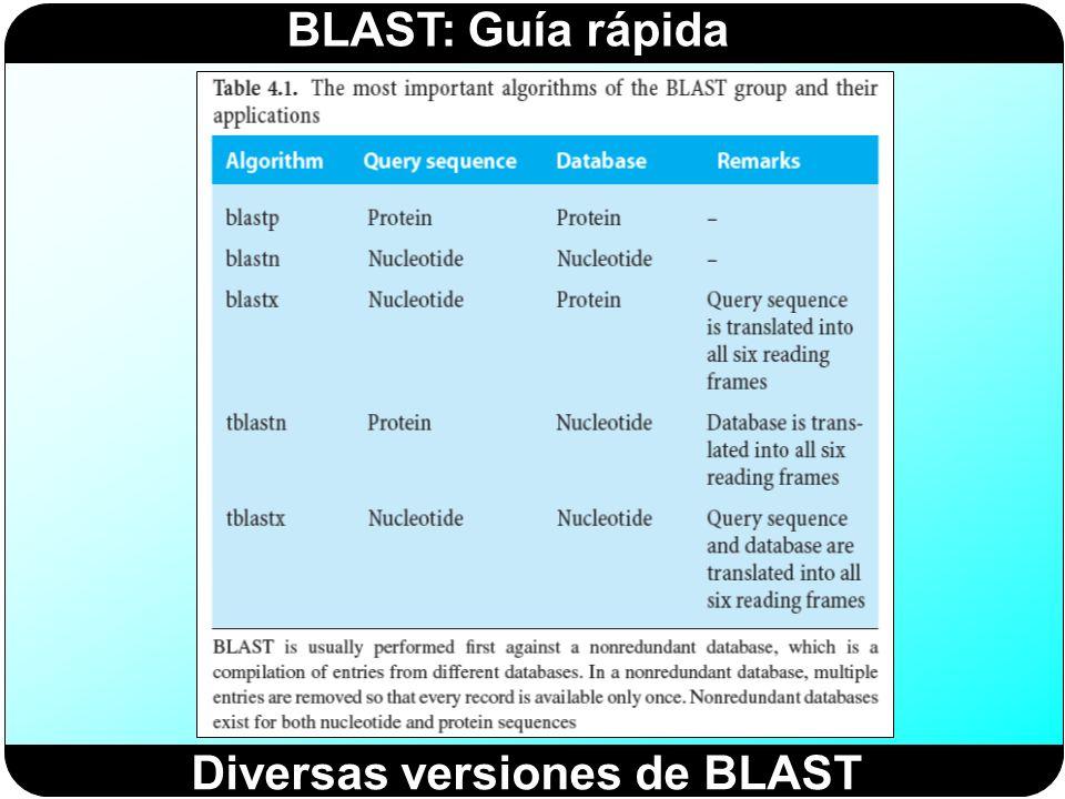 Diversas versiones de BLAST
