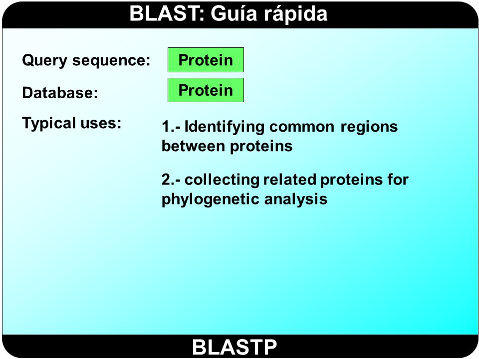 BLASTP Query sequence: Protein Database: Protein Typical uses: