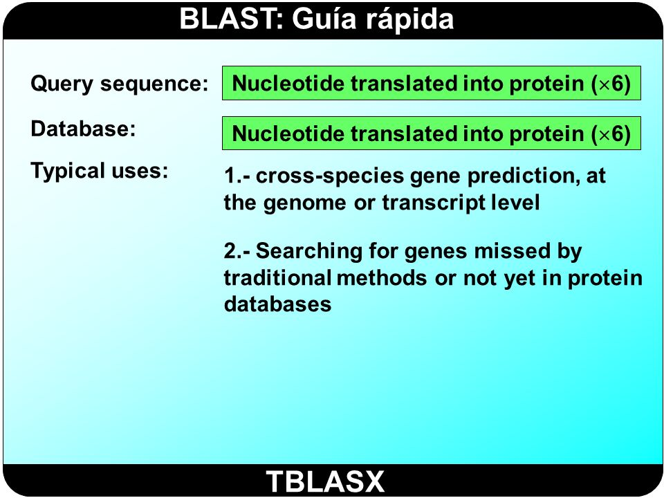 TBLASX Query sequence: Nucleotide translated into protein (6)