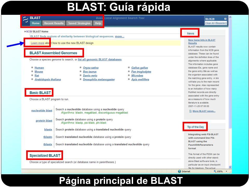 Página principal de BLAST