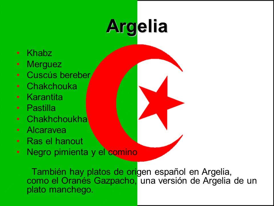 Argelia Khabz Merguez Cuscús bereber Chakchouka Karantita Pastilla
