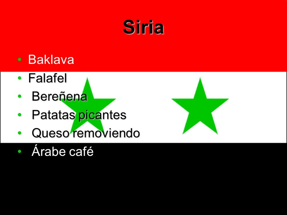Siria Baklava Falafel Bereñena Patatas picantes Queso removiendo