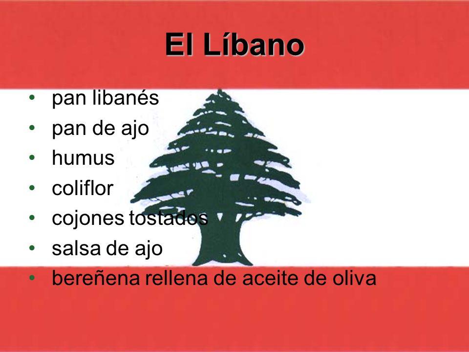 El Líbano pan libanés pan de ajo humus coliflor cojones tostados