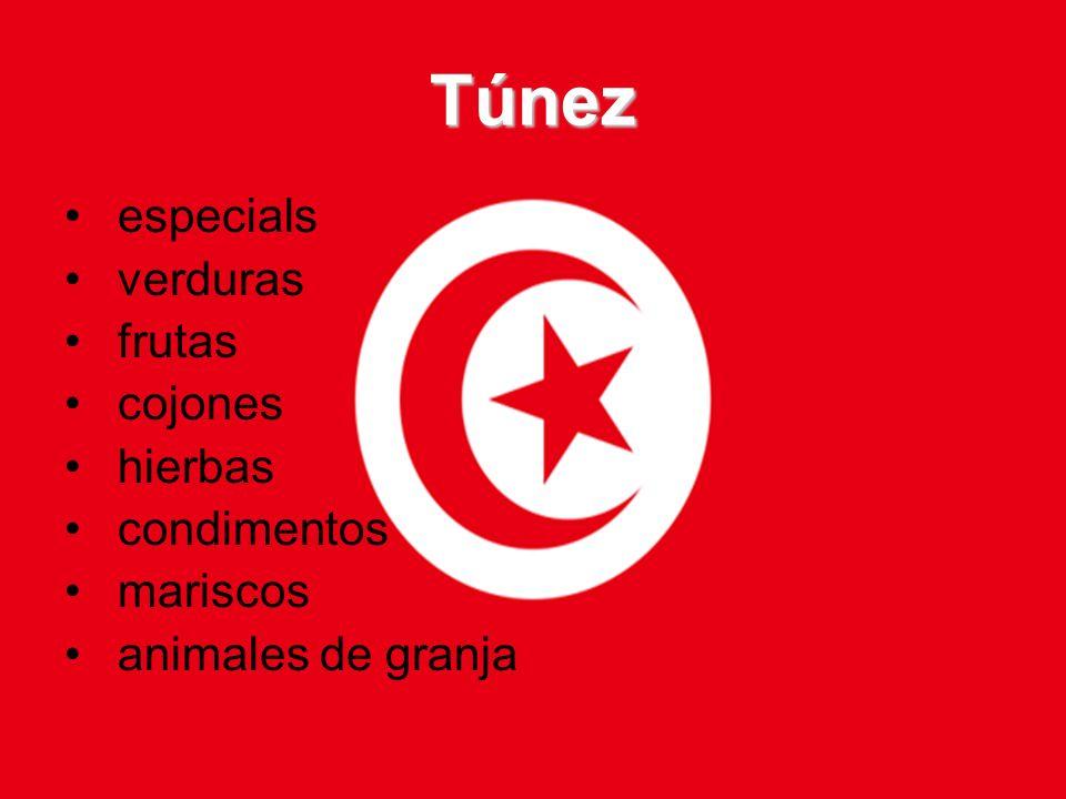 Túnez especials verduras frutas cojones hierbas condimentos mariscos